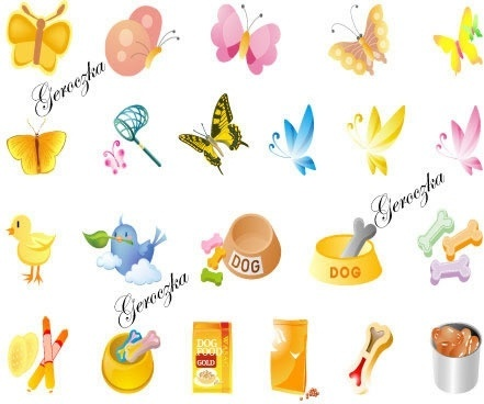 animal design elements butterflies birds dog food icons