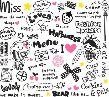 cute cartoon images and letters vector