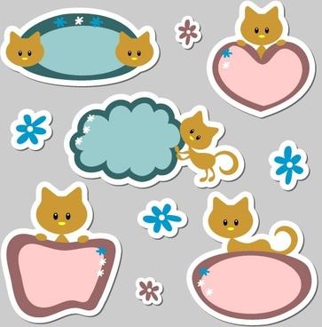 cute cartoon label 01 vector