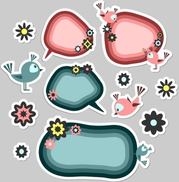 cute cartoon label 02 vector