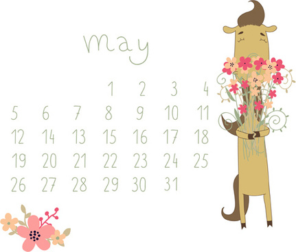 cute cartoon may calendar design vector