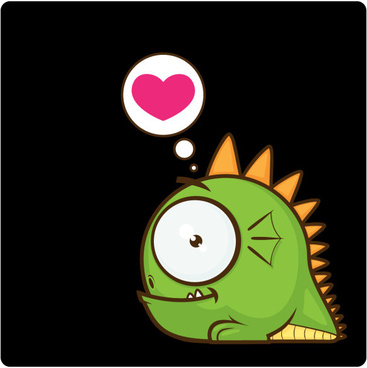 cute cartoon monster with heart vector