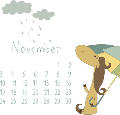cute cartoon november calendar design vector
