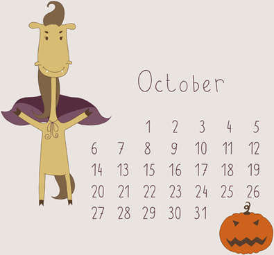 cute cartoon october calendar design vector