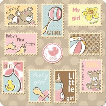 cute cartoon ornaments stamp vector