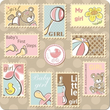 cute cartoon ornaments stamps vector