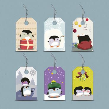cute cartoon penguin tags vector graphics