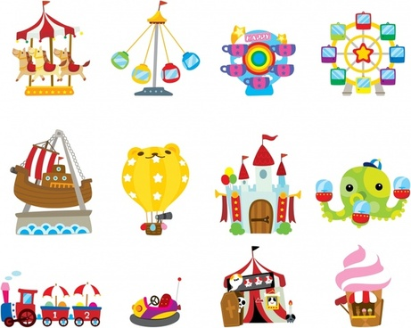 recreational park icons colorful flat games sketch