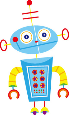 cute cartoon robot colored vector set
