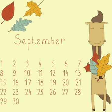 cute cartoon september calendar design vector