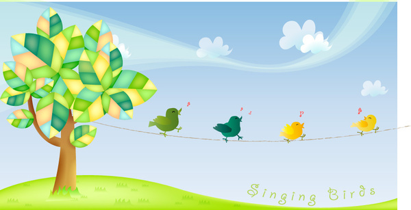 cute cartoon singing birds vector