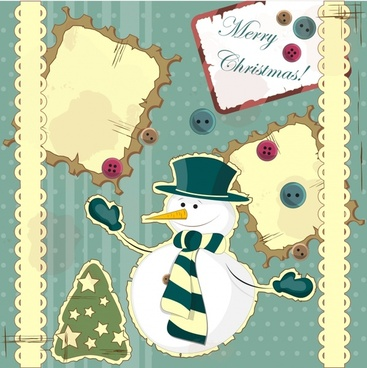 cute cartoon snowman vector decorative painting
