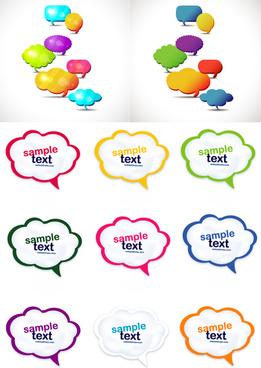 cute cartoon speech bubbles mix vector
