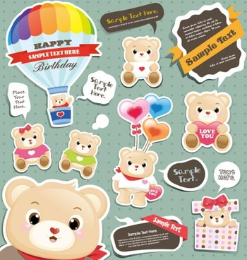 cute cartoon stickers 04 vector