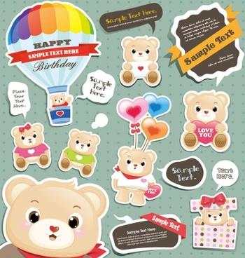 cute cartoon stickers 04 vector