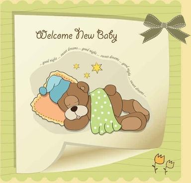 Cute cartoon style children's card design vector01