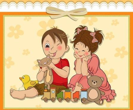 Cute cartoon style children's card design vector02