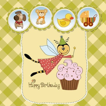 Cute cartoon style children's card design vector