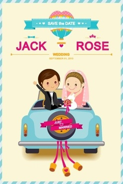 cute cartoon style wedding invitation card vector