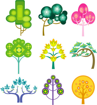 cute cartoon trees vector