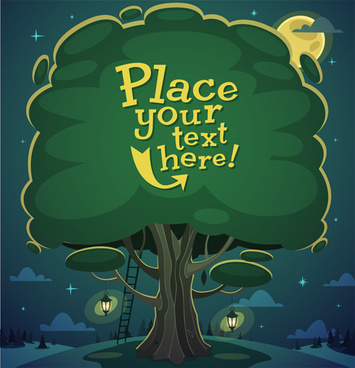 cute cartoon trees vector background graphics