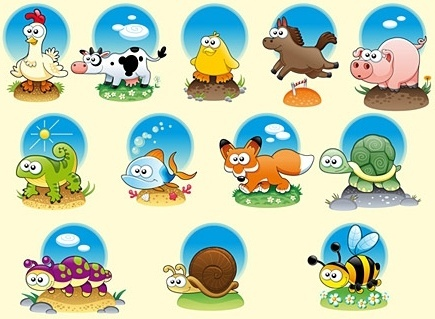cute animals icons collection colored cartoon flat style
