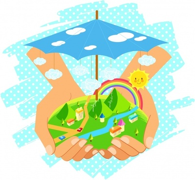 ecology background holding hands land umbrella icons decor