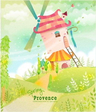 card background colorful cute cartoon design countryside scenery