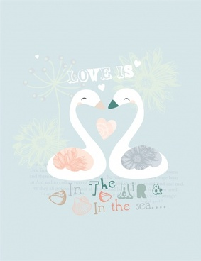 love banner swan couple sketch classical handdrawn design