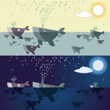 cute cartoon whales vector graphics