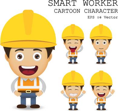 cute cartoon worker vector set