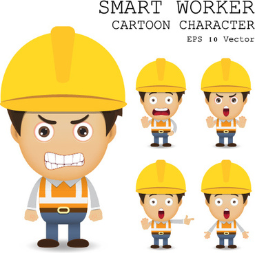 cute cartoon worker vector set