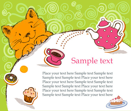 cute cat birthday cards creative vector