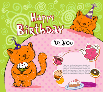Cute Cat Birthday Cards Creative Vector