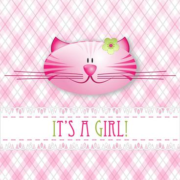 cute cat card vector