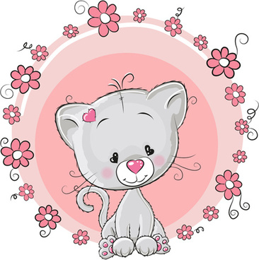 cute cat with love elements vectors