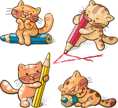 cute cats and pencil vecto