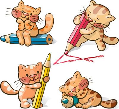 cute cats and pencil vecto