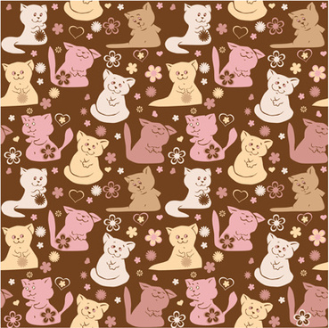 cute cats vector seamless pattern