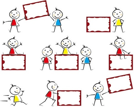 cute child with bulletin board vector