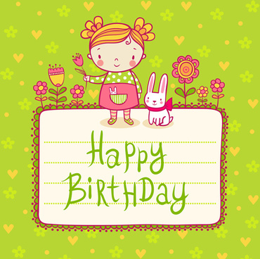 cute child with rabbit birthday card vector