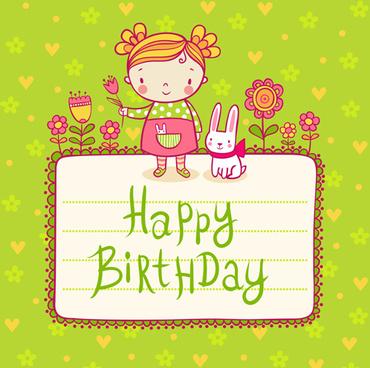 cute child with rabbit birthday card vector