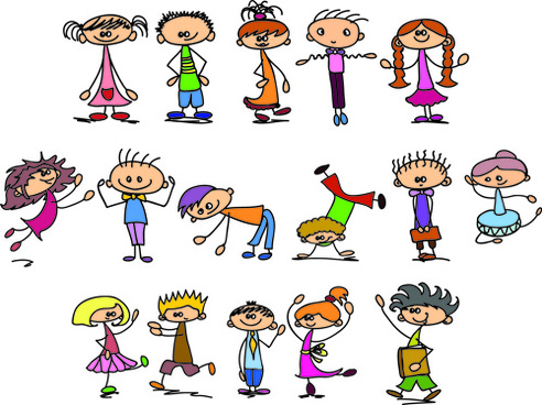 cute children cartoon styles vector