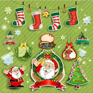 cute christmas decorations elements vector