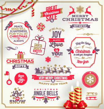 cute christmas holidays labels design vector