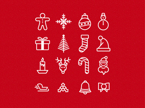 cute christmas icons vector set