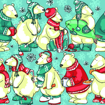 cute christmas small animals vector set