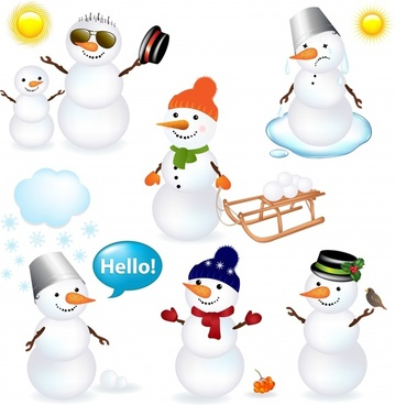 snowman icons cute stylized cartoon sketch