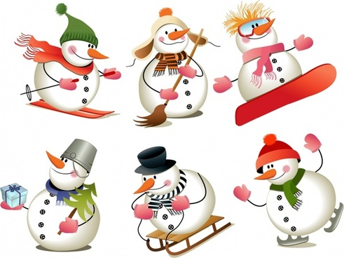 snowman icons cute stylized characters modern design