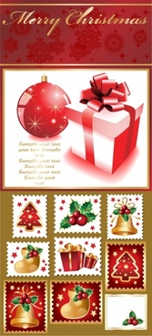 cute christmas stamps vector